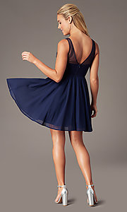Image of short navy chiffon v-neck hoco dress by PromGirl. Style: LP-PL-28042 Back Image