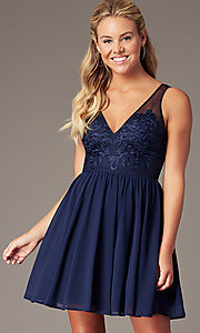 Image of short navy chiffon v-neck hoco dress by PromGirl. Style: LP-PL-28042 Front Image