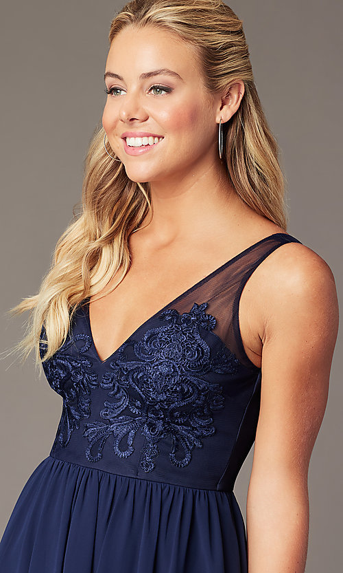 Image of short navy chiffon v-neck hoco dress by PromGirl. Style: LP-PL-28042 Detail Image 2