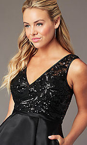 Image of sequin-bodice short satin hoco dress by PromGirl. Style: LP-PL-26460 Detail Image 1