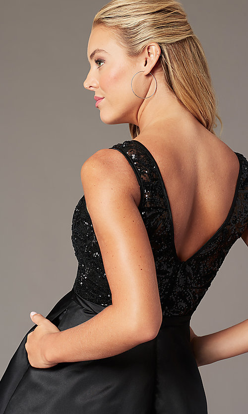 Image of sequin-bodice short satin hoco dress by PromGirl. Style: LP-PL-26460 Detail Image 2