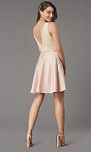 Image of short sequin-bodice v-neck hoco dress by PromGirl. Style: LP-PL-25772S Detail Image 4