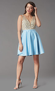 Image of short sequin-bodice v-neck hoco dress by PromGirl. Style: LP-PL-25772S Detail Image 1