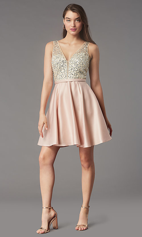Image of short sequin-bodice v-neck hoco dress by PromGirl. Style: LP-PL-25772S Detail Image 3