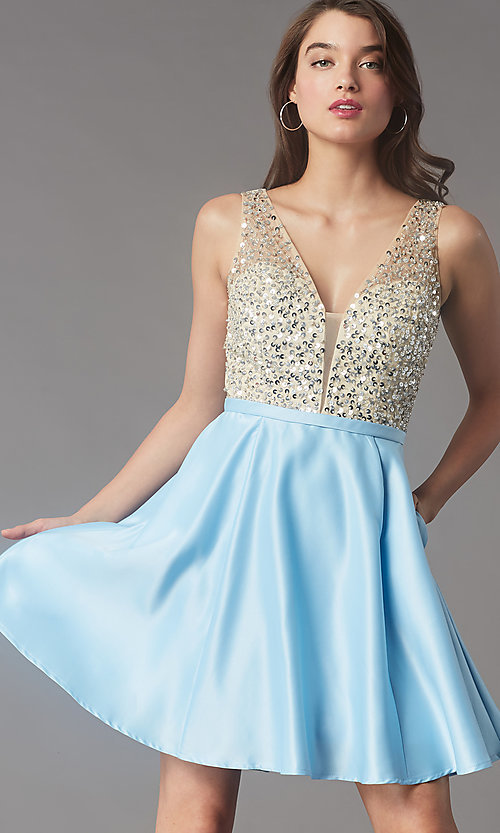 Image of short sequin-bodice v-neck hoco dress by PromGirl. Style: LP-PL-25772S Front Image