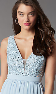 Image of sequin-lace-bodice short hoco dress by PromGirl. Style: LP-PL-24017-1S Detail Image 2