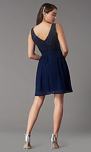 Image of sequin-lace-bodice short hoco dress by PromGirl. Style: LP-PL-24017-1S Detail Image 4