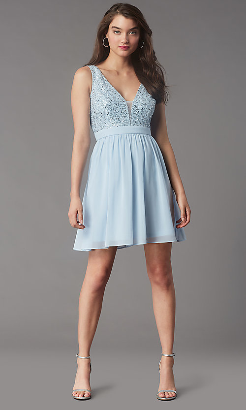 Image of sequin-lace-bodice short hoco dress by PromGirl. Style: LP-PL-24017-1S Detail Image 1