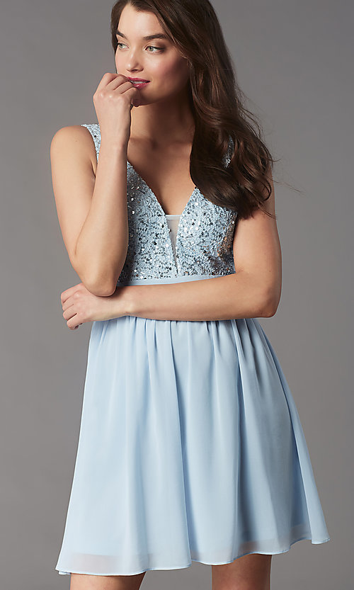 Image of sequin-lace-bodice short hoco dress by PromGirl. Style: LP-PL-24017-1S Front Image