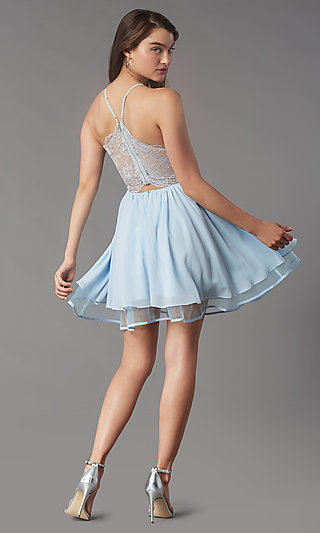 Short Lace-Back Homecoming Party Dress by PromGirl