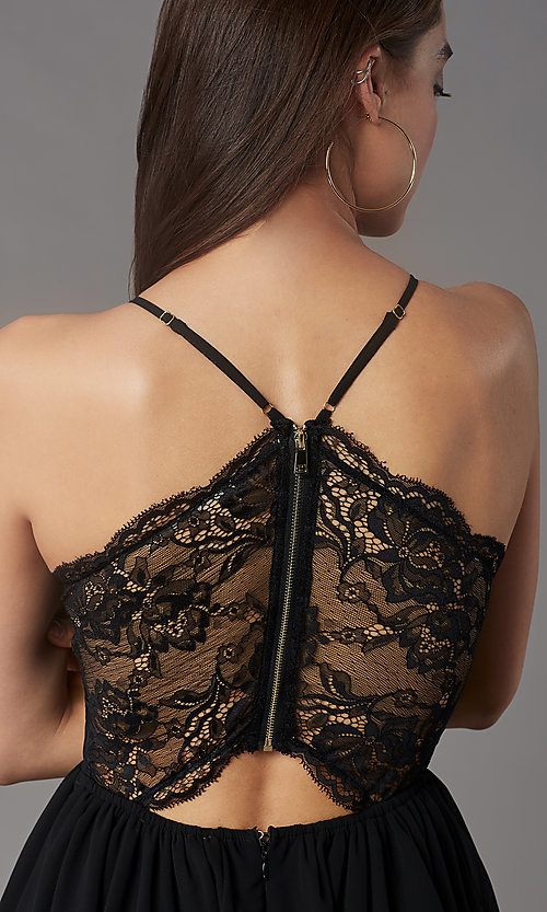 Image of short lace-back homecoming party dress by PromGirl. Style: LP-PL-MG26467 Detail Image 2