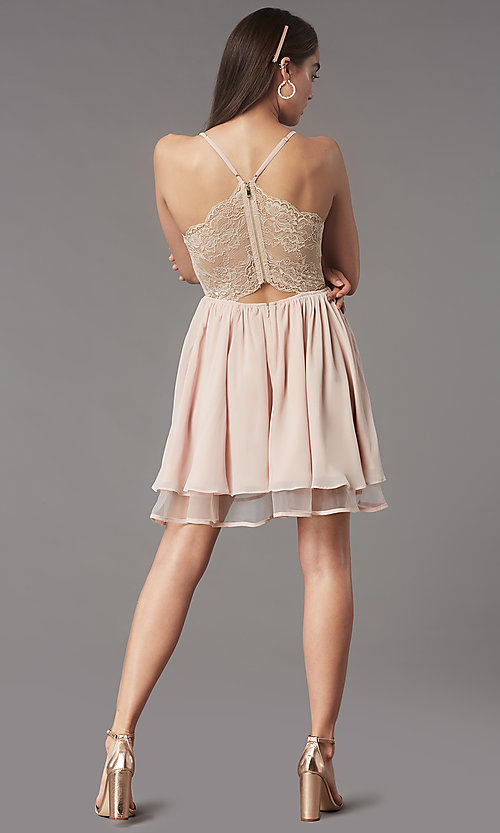 Image of short lace-back homecoming party dress by PromGirl. Style: LP-PL-MG26467 Detail Image 7