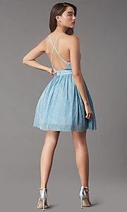 Image of metallic short v-neck homecoming dress by PromGirl. Style: LP-PL-MG20129 Back Image