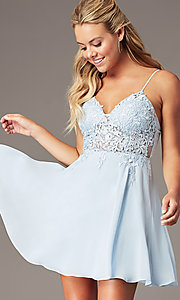 Image of PromGirl short homecoming dress in light blue. Style: LP-PL-26461 Front Image