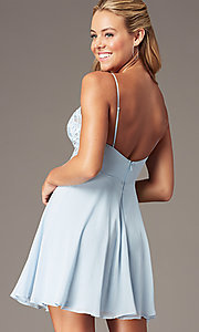 Image of PromGirl short homecoming dress in light blue. Style: LP-PL-26461 Back Image