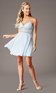Image of PromGirl short homecoming dress in light blue. Style: LP-PL-26461 Detail Image 1