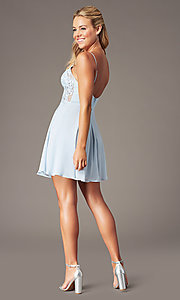 Image of PromGirl short homecoming dress in light blue. Style: LP-PL-26461 Detail Image 2