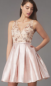 Image of pleated-skirt short hoco party dress by PromGirl. Style: LP-PL-26330 Detail Image 1