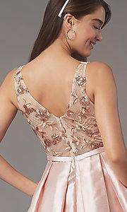 Image of pleated-skirt short hoco party dress by PromGirl. Style: LP-PL-26330 Detail Image 3