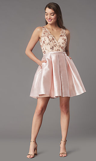Pleated-Skirt Short Hoco Party Dress by PromGirl