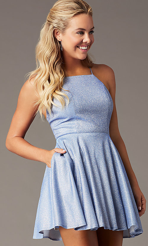 Image of sparkly short glitter homecoming dress by PromGirl. Style: LP-PL-26494S Front Image