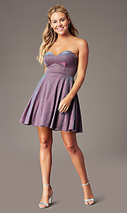Image of PromGirl strapless short sparkly homecoming dress. Style: LP-PL-26482 Detail Image 1