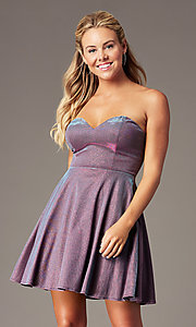 Image of PromGirl strapless short sparkly homecoming dress. Style: LP-PL-26482 Front Image
