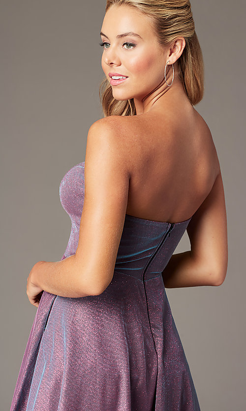 Image of PromGirl strapless short sparkly homecoming dress. Style: LP-PL-26482 Detail Image 3