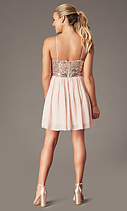 Image of sequin-bodice short hoco dress by PromGirl. Style: LP-PL-25267S Back Image