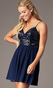 Image of sequin-bodice short hoco dress by PromGirl. Style: LP-PL-25267S Detail Image 3