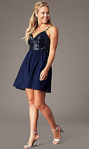 Image of sequin-bodice short hoco dress by PromGirl. Style: LP-PL-25267S Detail Image 5