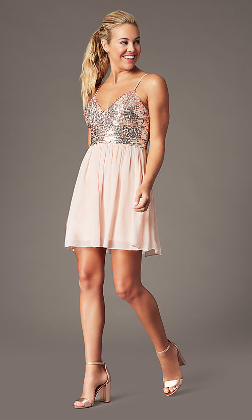 Image of sequin-bodice short hoco dress by PromGirl. Style: LP-PL-25267S Front Image