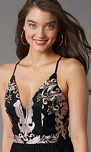 Image of embroidered v-neck short hoco dress by PromGirl. Style: LP-PL-MG20089S Detail Image 2