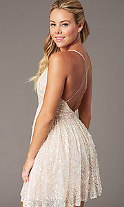 Image of short sequin hoco party dress by PromGirl. Style: LP-PL-26486 Detail Image 3
