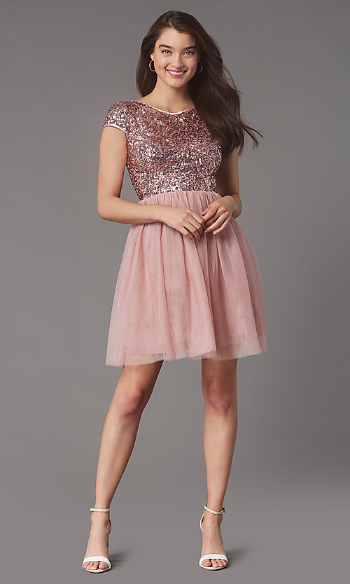 Image of sequin-bodice short homecoming dress by PromGirl. Style: LP-PL-26547 Detail Image 1