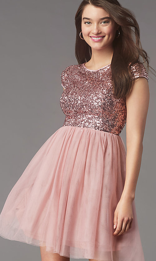 Image of sequin-bodice short homecoming dress by PromGirl. Style: LP-PL-26547 Front Image
