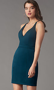 Image of short v-neck lace-back homecoming dress by Simply. Style: LP-SD-MG20130 Detail Image 1