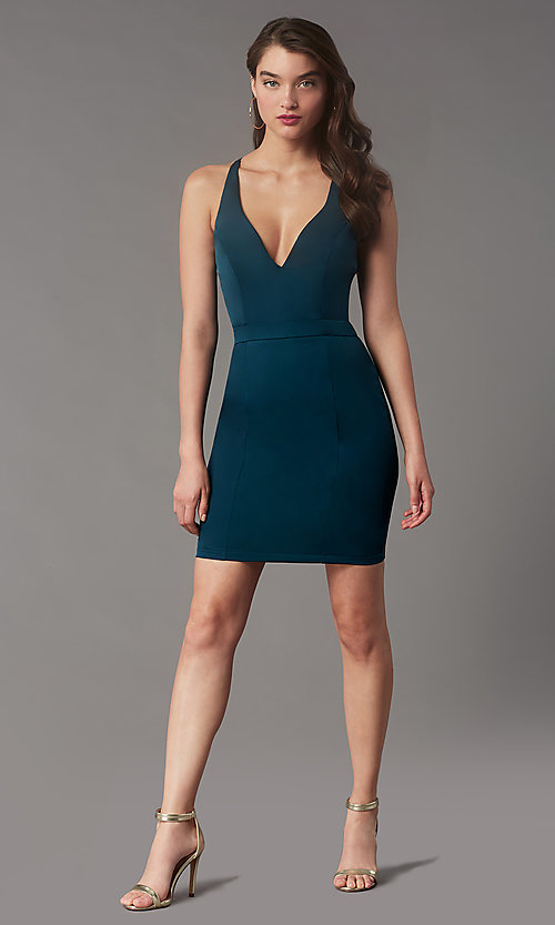 Image of short v-neck lace-back homecoming dress by Simply. Style: LP-SD-MG20130 Front Image