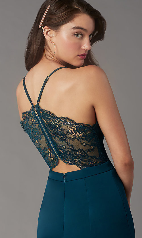 Image of short v-neck lace-back homecoming dress by Simply. Style: LP-SD-MG20130 Detail Image 2