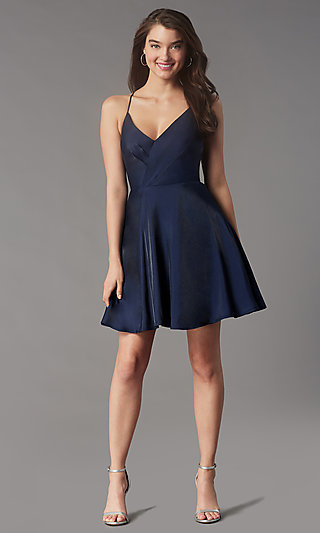 Short Pleated-Bodice Homecoming Dress by Simply