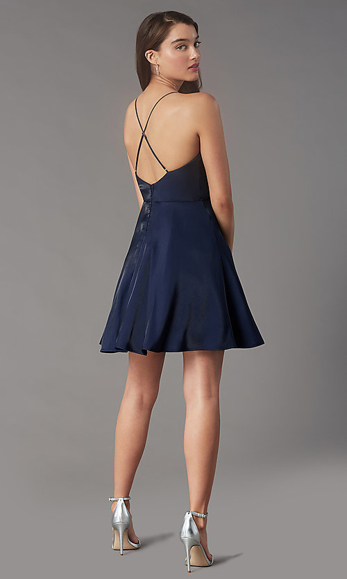 Image of short pleated-bodice homecoming dress by Simply. Style: LP-SD-MG20139 Detail Image 4
