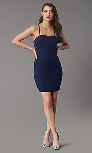 Image of square-neck tight short hoco party dress by Simply. Style: LP-SD-MG26503 Front Image