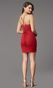 Image of square-neck tight short hoco party dress by Simply. Style: LP-SD-MG26503 Detail Image 4
