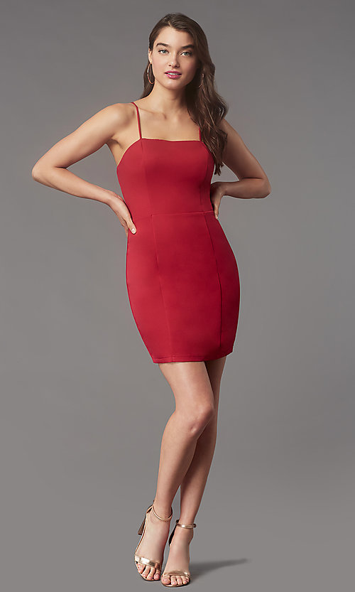 Image of square-neck tight short hoco party dress by Simply. Style: LP-SD-MG26503 Detail Image 3