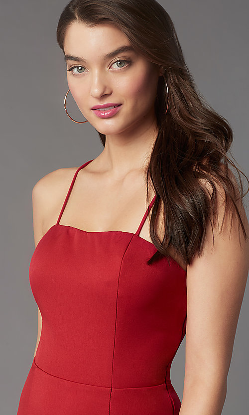 Image of square-neck tight short hoco party dress by Simply. Style: LP-SD-MG26503 Detail Image 5