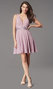 Image of sequin-waist short homecoming dress by Simply. Style: LP-SD-26455 Detail Image 1