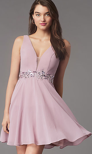 Sequin-Waist Short Homecoming Dress by Simply