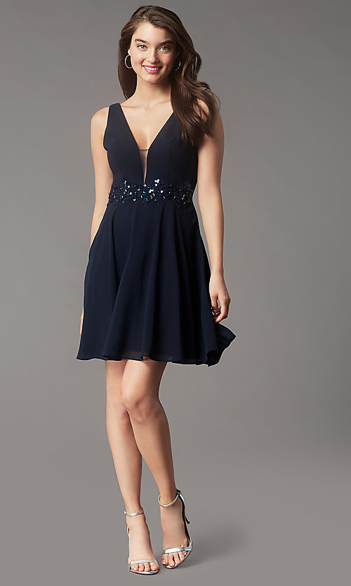 Image of sequin-waist short homecoming dress by Simply. Style: LP-SD-26455 Detail Image 6