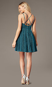 Image of short glitter-knit homecoming dress by PromGirl. Style: LP-PL-26493 Detail Image 4