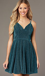 Image of short glitter-knit homecoming dress by PromGirl. Style: LP-PL-26493 Detail Image 5
